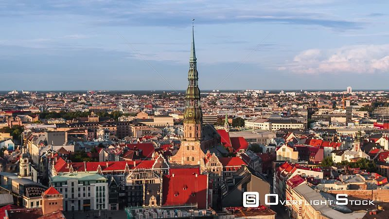 Drone Video Cityscape Riga Latvia