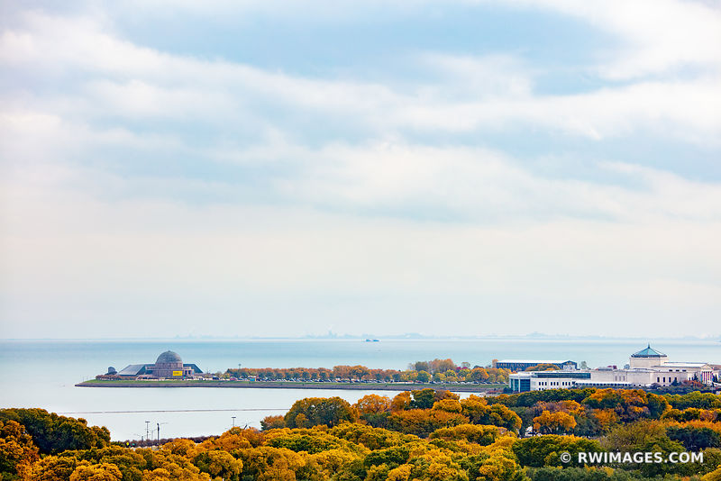 GRANT PARK ADLER PLANETARIUM LAKE MICHIGAN CHICAGO ILLINOIS AUTUMN FALL COLORS AERIAL VIEW
