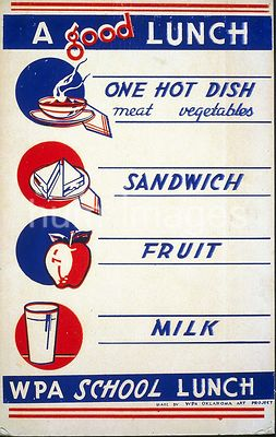 A good lunch - one hot dish, meat, vegetables - sandwich - fruit - milk WPA school lunch ca. 1941