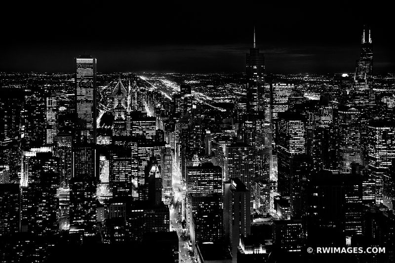 CITY LIGHTS AT NIGHT MICHIGAN AVENUE CHICAGO DOWNTOWN AERIAL VIEW CHICAGO ILLINOIS BLACK AND WHITE