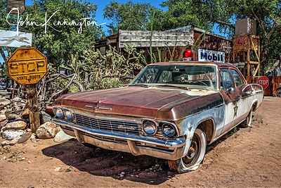Police Chevy, Route 66, Hackberry General Store, Arizona