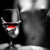 Nude woman red wine