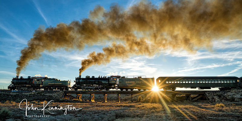 Grand Canyon Railroad Steam Doubleheader at Millers Wash Panoramic, Williams, Airzona