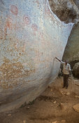 Nyero rock paintings, geometrical painting thought to be 400-1000 years old, near Kumi, Uganda