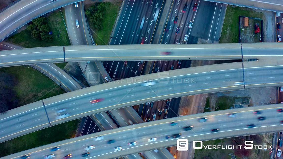 Atlanta Aerial Dusk vertical view ascending hyperlapse over interchange