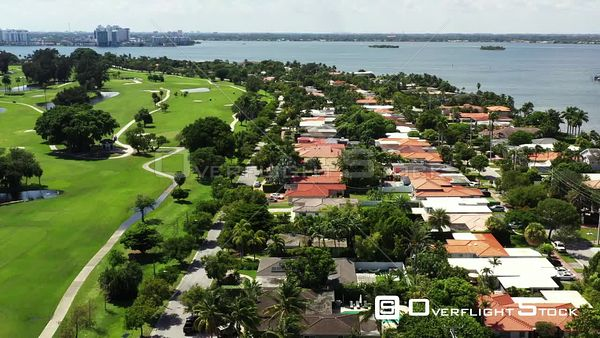 Aerial video Normandy Shores Miami Beach residential neighborhood 4k