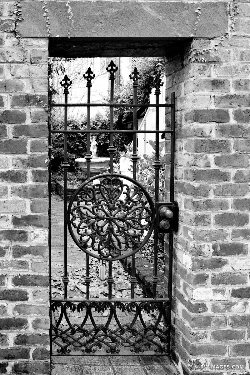 OLD IRON GATE HISTORIC SAVANNAH GEORGIA BLACK AND WHITE VERTICAL