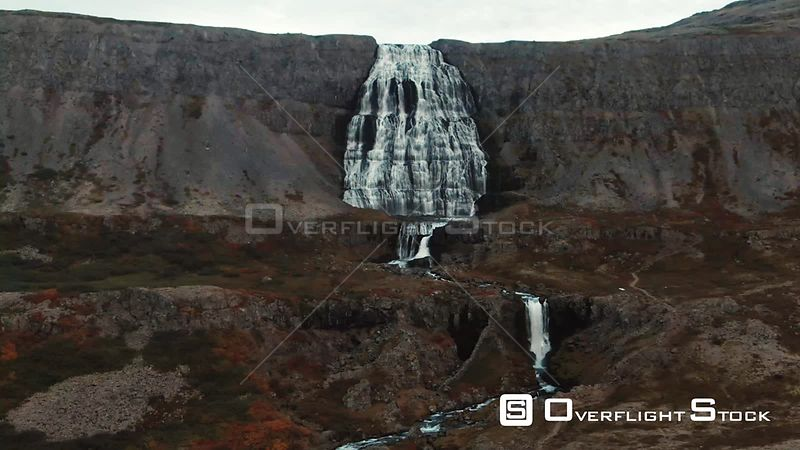 Dynjandi Waterfall in Iceland at Sunset