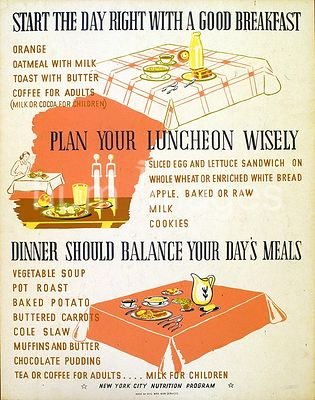 Start the day right with a good breakfast Plan your luncheon wisely : Dinner should balance your day's meals ca. 1941-1943