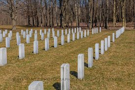 Rows of Headstones at Fort Custer National Cemetery