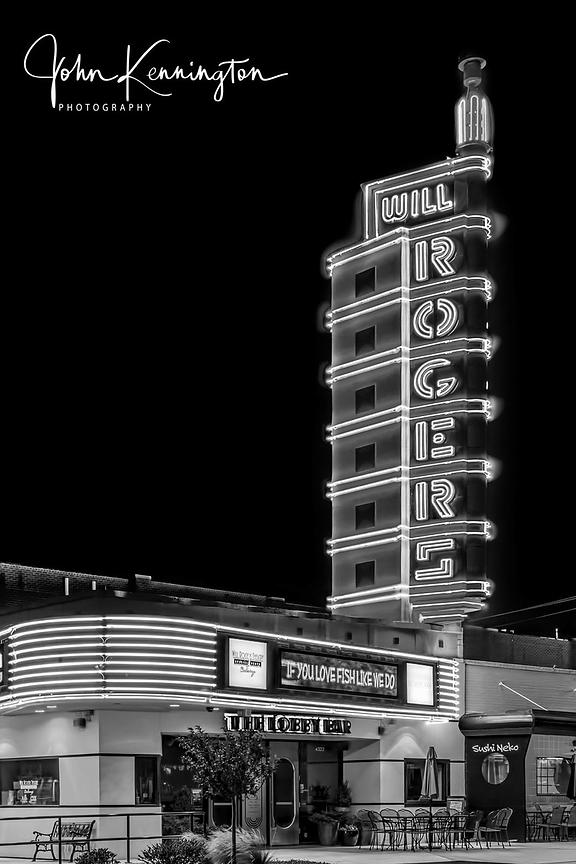 Will Rogers Theatre (BW), Route 66, Oklahoma City