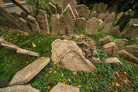 A view of the tombstones at the Old Jewish Cemetery in Prague, Czech Republic