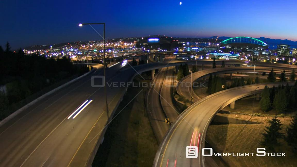 Seattle Washington State USA Panning clip of Seattle cityscape time lapse using a fisheye lens.