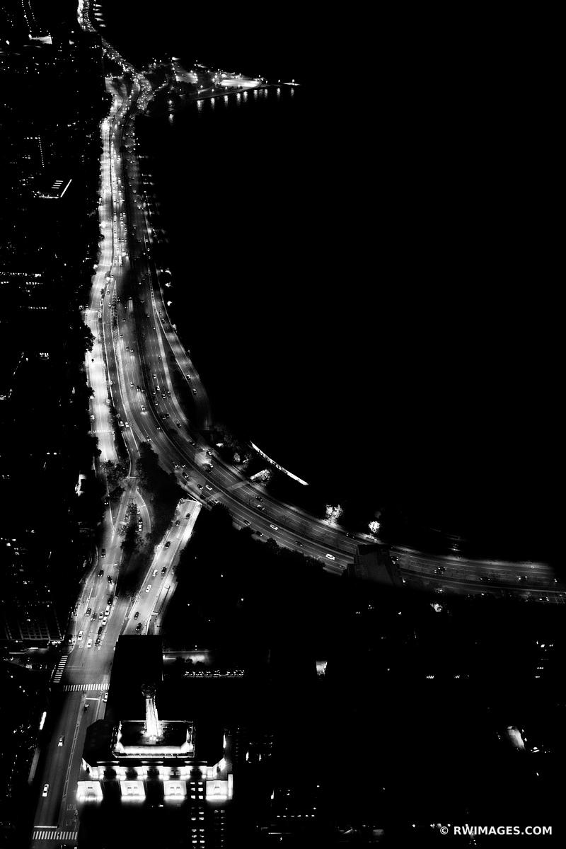 LAKE SHORE DRIVE AT NIGHT CHICAGO DOWNTOWN AERIAL VIEW CHICAGO ILLINOIS BLACK AND WHITE