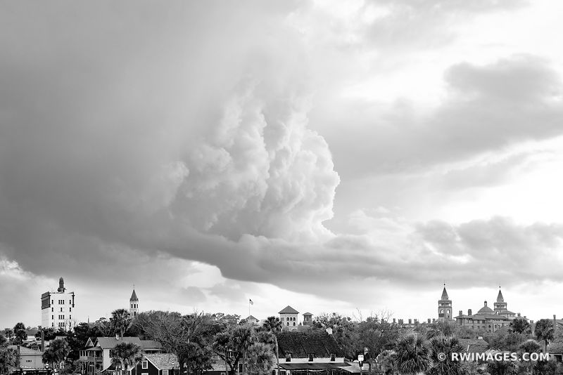 CITY SKYLINE ST. AUGUSTINE FLORIDA BLACK AND WHITE