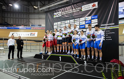 Tandem Team Sprint Podium. 2020 UCI Para-Cycling Track World Championships, Day 1 Afternoon Session, January 30, 2020