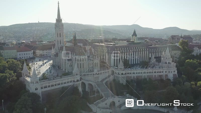 Aerial Drone Video of Budapest Fisherman's Bastion Hungary