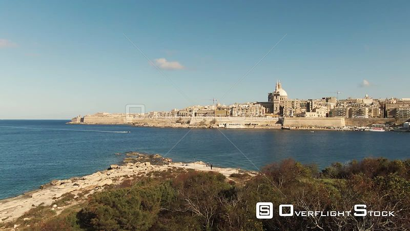 Aerial panning view of Valletta, the capital of Malta, from Manoel island
