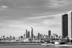 CHICAGO LAKEFRONT HARBOR CHICAGO ILLINOIS BLACK AND WHITE
