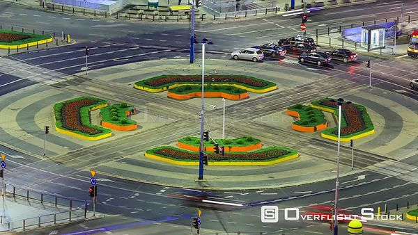 Time lapse of busy intersection in Warsaw, Poland.