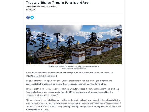 Lonely Planet; Bhutan Photo Essay; April 2019