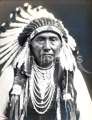 Edward S. Curtis Native American Indians - Photograph shows Chief Joseph, wearing war bonnet and several necklaces ca. 1903