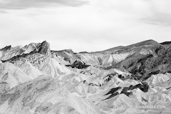 ZABRISKIE POINT BADLANDS LOOP TRAIL DEATH VALLEY CALIFORNIA BLACK AND WHITE