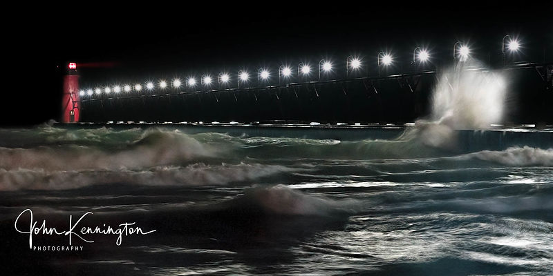Night at South Haven Lighthouse Panoramic, Michigan