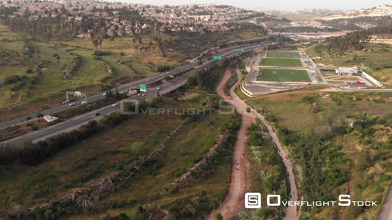 Drone Shot of North Jerusalem Roads and Soccer Fields