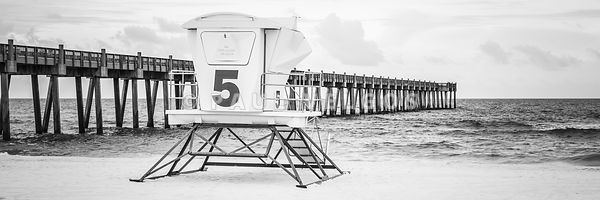 Pensacola Pier and Lifeguard Shack 5 Black and White Panorama Photo