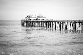 Malibu Pier California Black and White Photo