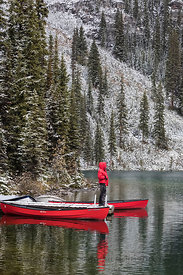 Red Man an Canoes at Lake O'Hara Lodge Dock in Yoho National Park