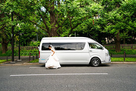 A bride on the street in Akasaka, Tokyo, Japan