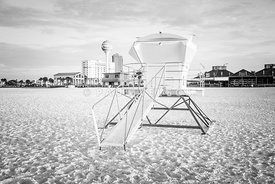 Pensacola Beach Lifeguard Tower 2 Black and White Photo