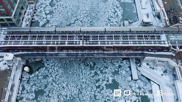 CTA Train Commuter Rail Train Chicago Drone Video