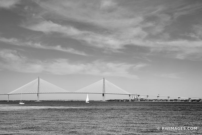 ARTHUR RAVENEL JR. BRIDGE COOPER RIVER CHARLESTON SOUTH CAROLINA BLACK AND WHITE