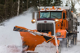 Snow Plow on Upper Peninsula Road in Michigan