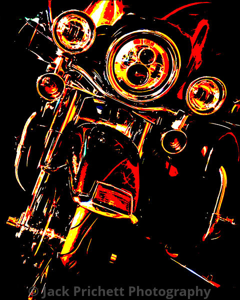 Black motorcycle in night light