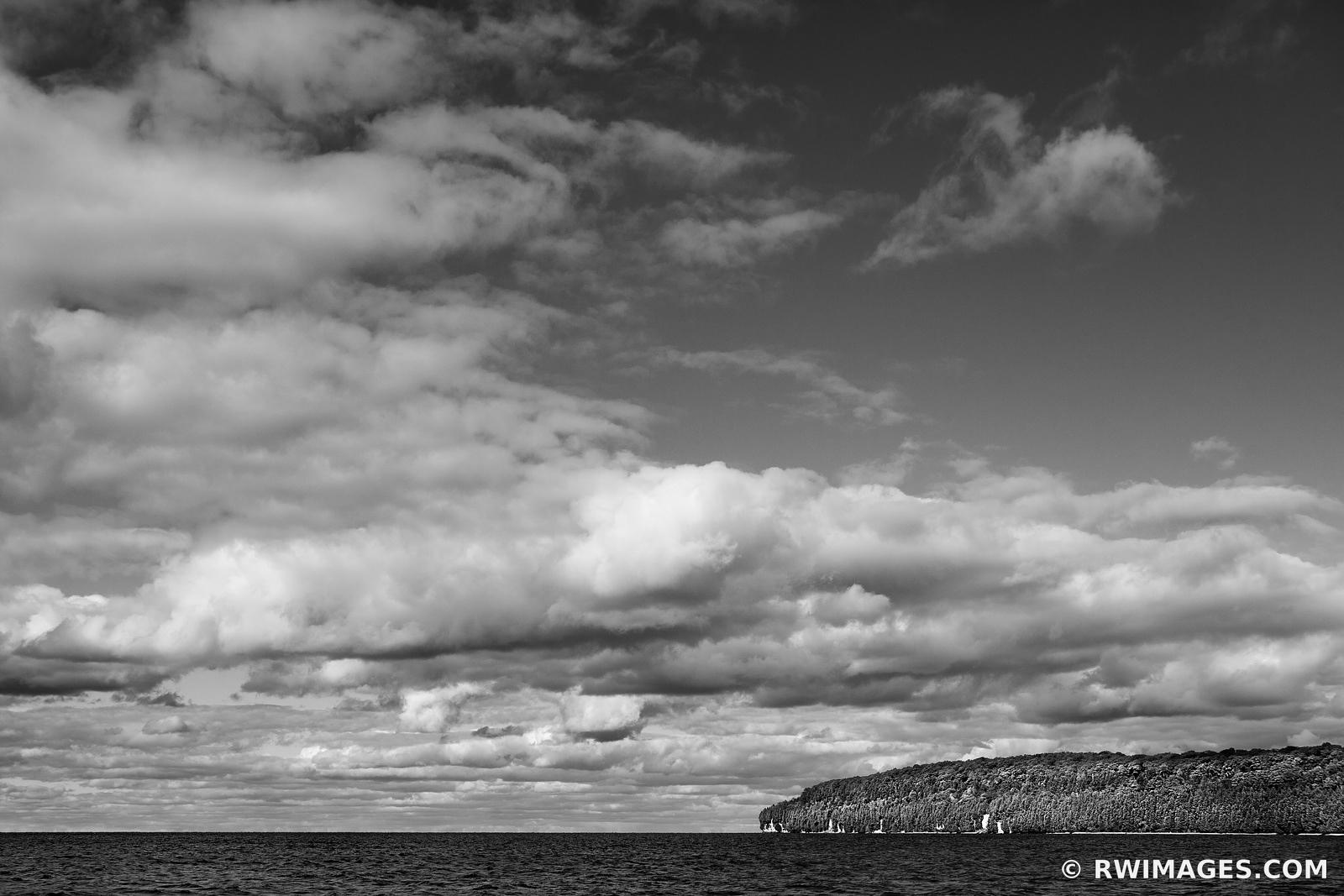 LAKE MICHIGAN ROCK ISLAND STATE PARK WISCONSIN DOOR COUNTY WISCONSIN BLACK AND WHITE LANDSCAPE