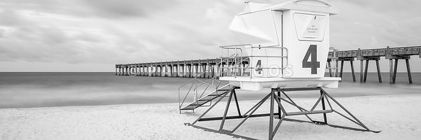 Pensacola Beach Lifeguard Tower Black and White Panorama Photo