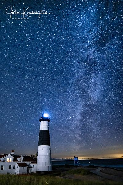 Milky Way Over Big Sable Point Light, Lake Michigan, Luddington, Michigan