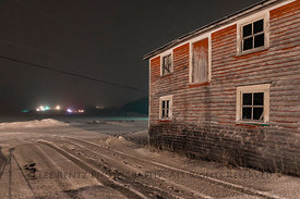 Red Clapboard Building at Night in Dunfield, Newfoundland