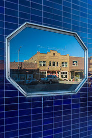 Reflections of Old Buildings in Helper, Utah
