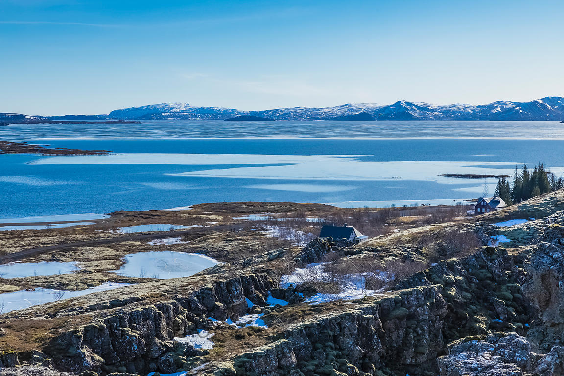 Lake Þingvallavatn Viewed from Thingvellir National Park in Iceland