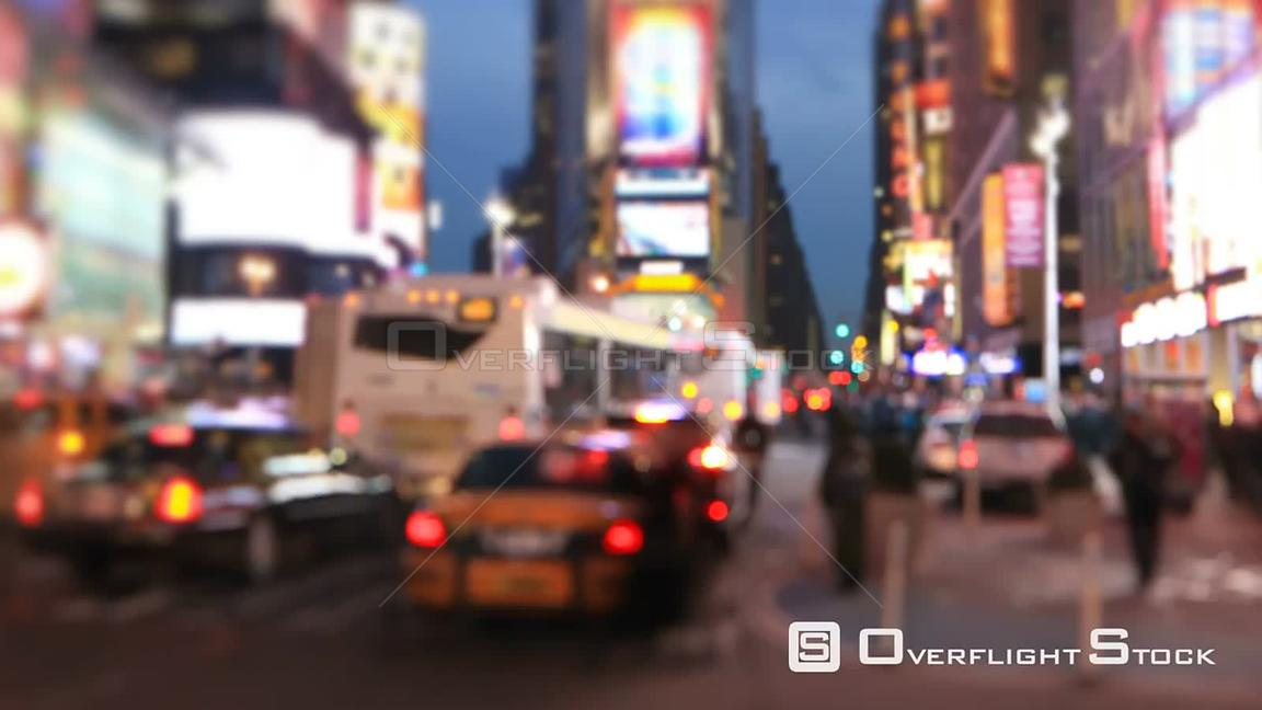 NYC New York USA Defocused busy city and pedestrian traffic time lapse of Times Square.