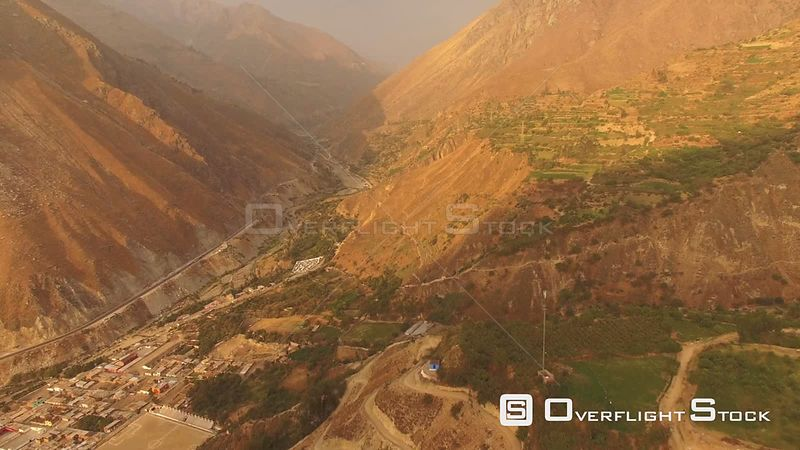 Peru Flying over mountain hillsides and San Jeronimo de Surco
