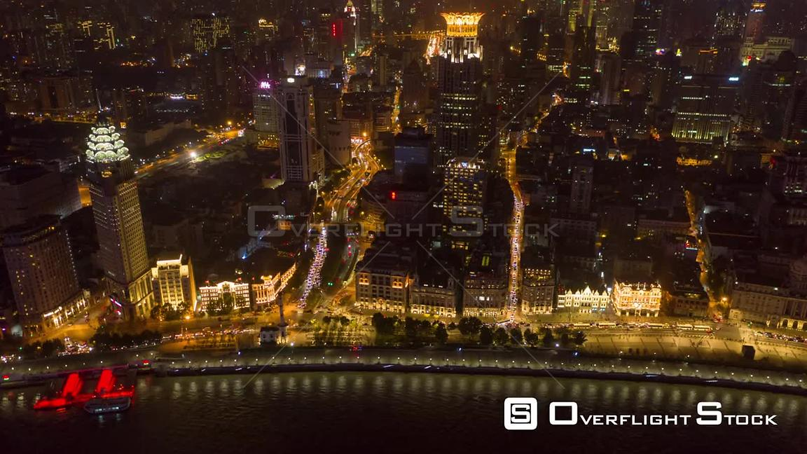 China Shanghai Aerial Hyperlapse birdseye night view of Huangpu riverfront following path