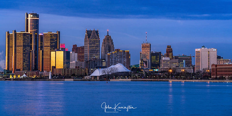 Detroit, Michigan Skyline at Dawn Panoramic