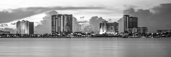 Pensacola Beach Skyline Black and White Panorama Photo