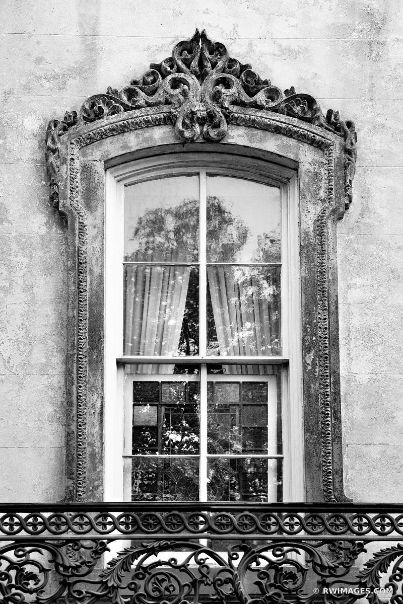 OLD BUIDLING ORNAMENTAL WINDOW HISTORIC SAVANNAH GEORGIA BLACK AND WHITE
